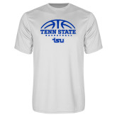 Performance White Tee-Tenn State Basketball w/ Half Ball