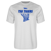 Syntrel Performance White Tee-TSU Tigers Basketball w/ Hanging Net
