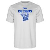 Performance White Tee-TSU Tigers Basketball w/ Hanging Net