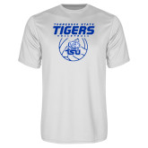 Syntrel Performance White Tee-Tennessee State Tigers Volleyball Stacked