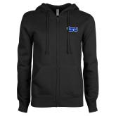 ENZA Ladies Black Fleece Full Zip Hoodie-TSU