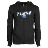 ENZA Ladies Black Fleece Full Zip Hoodie-Tigers Slanted w/ Logo