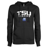 ENZA Ladies Black Fleece Full Zip Hoodie-Arched TSU Tigers
