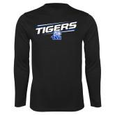 Performance Black Longsleeve Shirt-Tigers Slanted w/ Logo