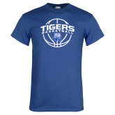 Royal T Shirt-Tigers Basketball Arched w/ Ball