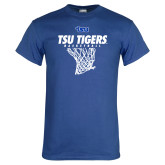 Royal T Shirt-TSU Tigers Basketball w/ Hanging Net