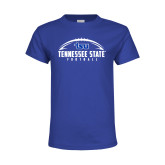 Youth Royal Blue T Shirt-Tennessee State Football w/ Ball