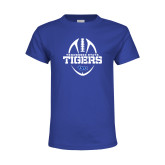 Youth Royal T Shirt-Tennessee State Tigers Football w/ Vertical Ball