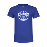 Youth Royal Blue T Shirt-Tigers Basketball Arched w/ Ball