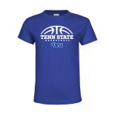 Youth Royal T Shirt-Tenn State Basketball w/ Half Ball