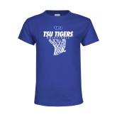 Youth Royal T Shirt-TSU Tigers Basketball w/ Hanging Net