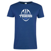 Ladies Royal T Shirt-Tennessee State Tigers Football w/ Vertical Ball