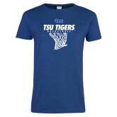 Ladies Royal T Shirt-TSU Tigers Basketball w/ Hanging Net