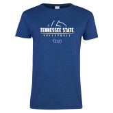 Ladies Royal T Shirt-Tennessee State Volleyball Half Ball