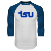 White/Royal Raglan Baseball T Shirt-TSU