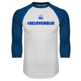 White/Royal Raglan Baseball T Shirt-#BelieveInBlue