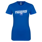 Next Level Ladies SoftStyle Junior Fitted Royal Tee-Tigers Slanted w/ Logo