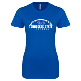 Next Level Ladies SoftStyle Junior Fitted Royal Tee-Tennessee State Football w/ Ball