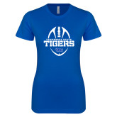 Next Level Ladies Softstyle Junior Fitted Royal Tee-Tennessee State Tigers Football w/ Vertical Ball