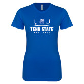 Next Level Ladies SoftStyle Junior Fitted Royal Tee-Tenn State Football w/ Field