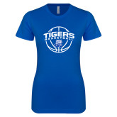 Next Level Ladies SoftStyle Junior Fitted Royal Tee-Tigers Basketball Arched w/ Ball
