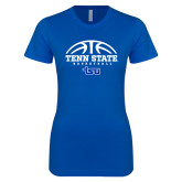 Next Level Ladies SoftStyle Junior Fitted Royal Tee-Tenn State Basketball w/ Half Ball