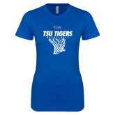 Next Level Ladies Softstyle Junior Fitted Royal Tee-TSU Tigers Basketball w/ Hanging Net