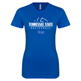 Next Level Ladies SoftStyle Junior Fitted Royal Tee-Tennessee State Volleyball Half Ball