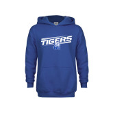 Youth Royal Fleece Hood-Tigers Slanted w/ Logo