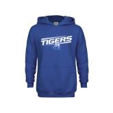 Youth Royal Fleece Hoodie-Tigers Slanted w/ Logo