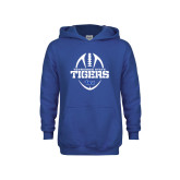 Youth Royal Fleece Hoodie-Tennessee State Tigers Football w/ Vertical Ball