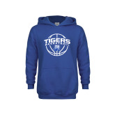 Youth Royal Fleece Hood-Tigers Basketball Arched w/ Ball