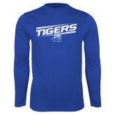 Performance Royal Longsleeve Shirt-Tigers Slanted w/ Logo