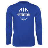 Syntrel Performance Royal Longsleeve Shirt-Tennessee State Tigers Football w/ Vertical Ball