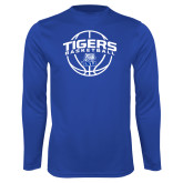 Syntrel Performance Royal Longsleeve Shirt-Tigers Basketball Arched w/ Ball