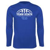 Performance Royal Longsleeve Shirt-Tenn State Basketball w/ Half Ball