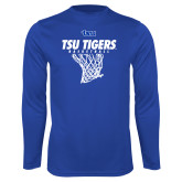 Performance Royal Longsleeve Shirt-TSU Tigers Basketball w/ Hanging Net