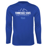 Syntrel Performance Royal Longsleeve Shirt-Tennessee State Volleyball Half Ball