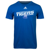 Adidas Climalite Royal Ultimate Performance Tee-Tigers Slanted w/ Logo