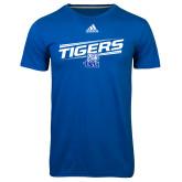 Adidas Climalite Royal Ultimate Performance Tee-Tigers Slanted w/ Logo