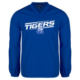 V Neck Royal Raglan Windshirt-Tigers Slanted w/ Logo