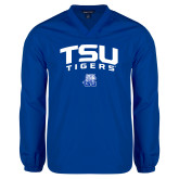 V Neck Royal Raglan Windshirt-Arched TSU Tigers