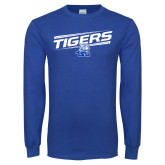 Royal Long Sleeve T Shirt-Tigers Slanted w/ Logo
