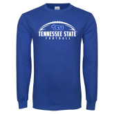 Royal Long Sleeve T Shirt-Tennessee State Football w/ Ball