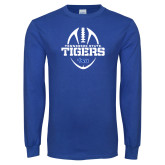 Royal Long Sleeve T Shirt-Tennessee State Tigers Football w/ Vertical Ball