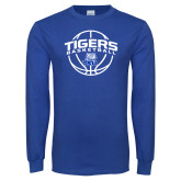 Royal Long Sleeve T Shirt-Tigers Basketball Arched w/ Ball