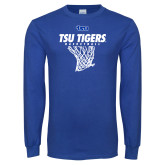 Royal Long Sleeve T Shirt-TSU Tigers Basketball w/ Hanging Net