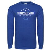 Royal Long Sleeve T Shirt-Tennessee State Volleyball Half Ball