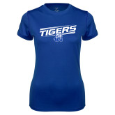 Ladies Syntrel Performance Royal Tee-Tigers Slanted w/ Logo
