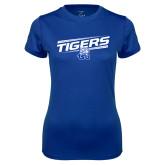 Ladies Syntrel Performance Royal Tee-Tigers Slanted w/ Logo